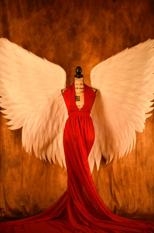 A Red Dress with the Angel Wings showing Faith vs Doubt