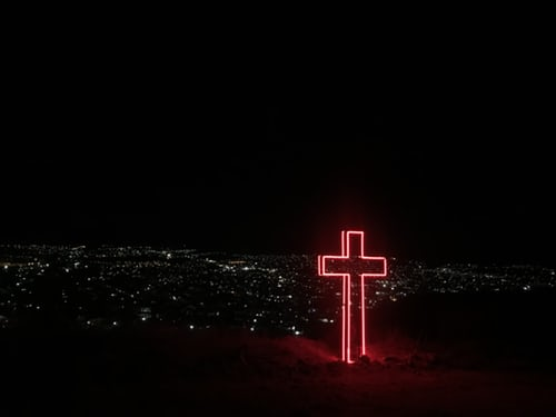Pic: Jesus Cross - Sign at Night. Is God Real? Jesus Christ Loves you.