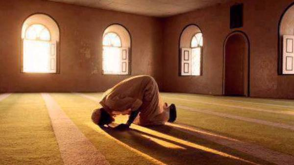 Pic: a man prostrates in masjid -spiritual warrior